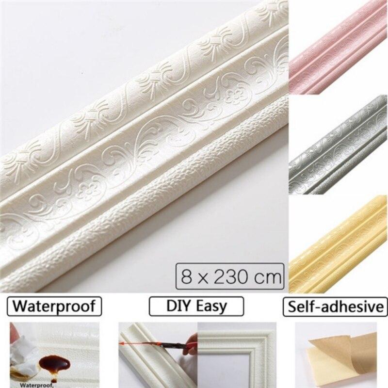 Autoadhesivo 3D pegatinas de pared sólidas bandas de borde de espuma impermeable Anti-colisión papel pintado adhesivo extraíble decoración de cintura #7