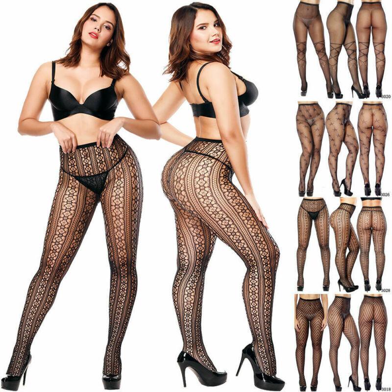 zigzag sheer mesh workout tights Plus Size Women's Pantyhose Tights Fishnet Mesh Stockings Underwear Lace Sheer Pattern Sheer Ladies Stockings