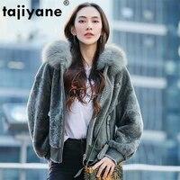 winter natural fur coat women real fox fur hooded sheep shearing jacket female vintage 100 double faced fur coats hiver 17112