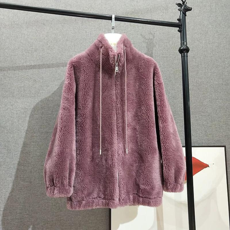 SHZQ عالية الجودة ملابس حريمي شتاء 2021 جديد وصول نمط غير رسمي حقيقي الأغنام الصوف معطف سميك دافئ سترة سيدة حجم كبير الضأن