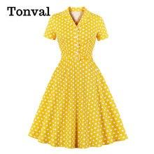 Tonval col cranté à pois Pin Up 50s Vintage Robe une ligne robes pour femmes bouton avant coton élégant Robe Midi