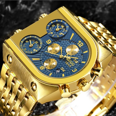 Top Brand TEMEITE Mens Quartz Watches Luxury Golden Clock 3 Time Zone Date Stainless Steel Strap Military Waterproof Wristwatch