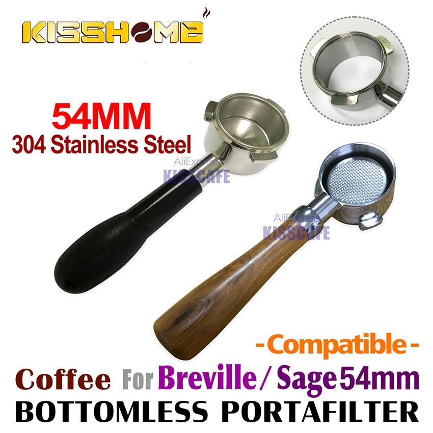54 مللي متر القهوة قعر Portafilter ل Breville 870/878/880 مرشح سلة الفولاذ المقاوم للصدأ استبدال إسبرسو آلة التبعي