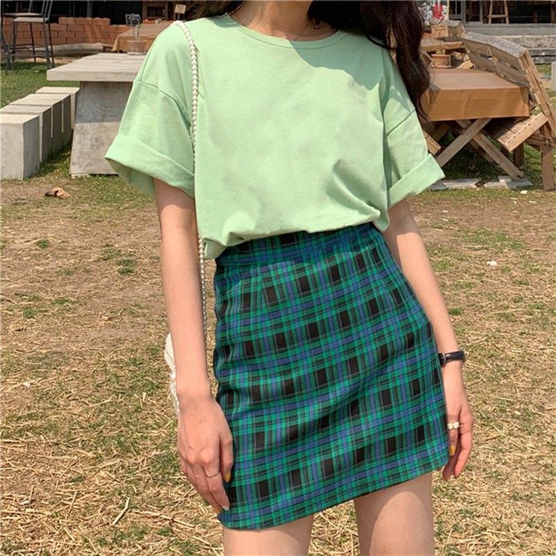Fashion Women Skirt Stitching Color Lattice High Waist Skirts Slim Temperament A Line Skirt Simple