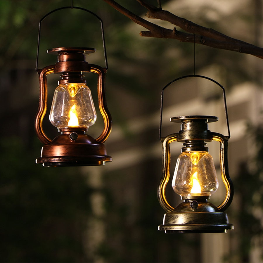 Solar Hanging Candle Light Retro Antique LED Flicker Flame Lamp Outdoor Waterproof Camping Night Light Lantern For Garden Table