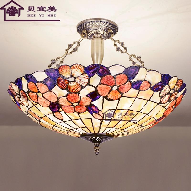 Mediterranean new retro classic shell Tiffany small family living room bedroom American light luxury copper chandelier