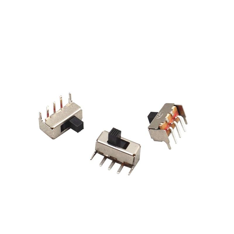 500 قطعة SS12F23 SS-12F23 SPDT 1P2T تبديل التبديل الشريحة 5PIN 3 + 2 90 درجة مقبض طول 4 مللي متر بنفايات شحن مجاني