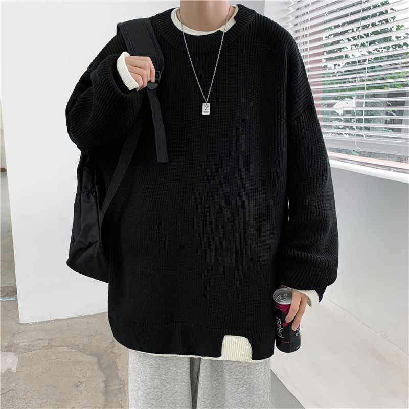 2020 autumn winter New tide brand couple turtleneck male Korean version loose round neck thick knitted white Free shipping