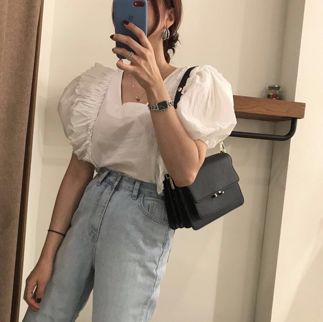 2021 Summer Korean Chic Sweet Western Style Youthful-Looking Lace Patchwork Puff Sleeve Small Square