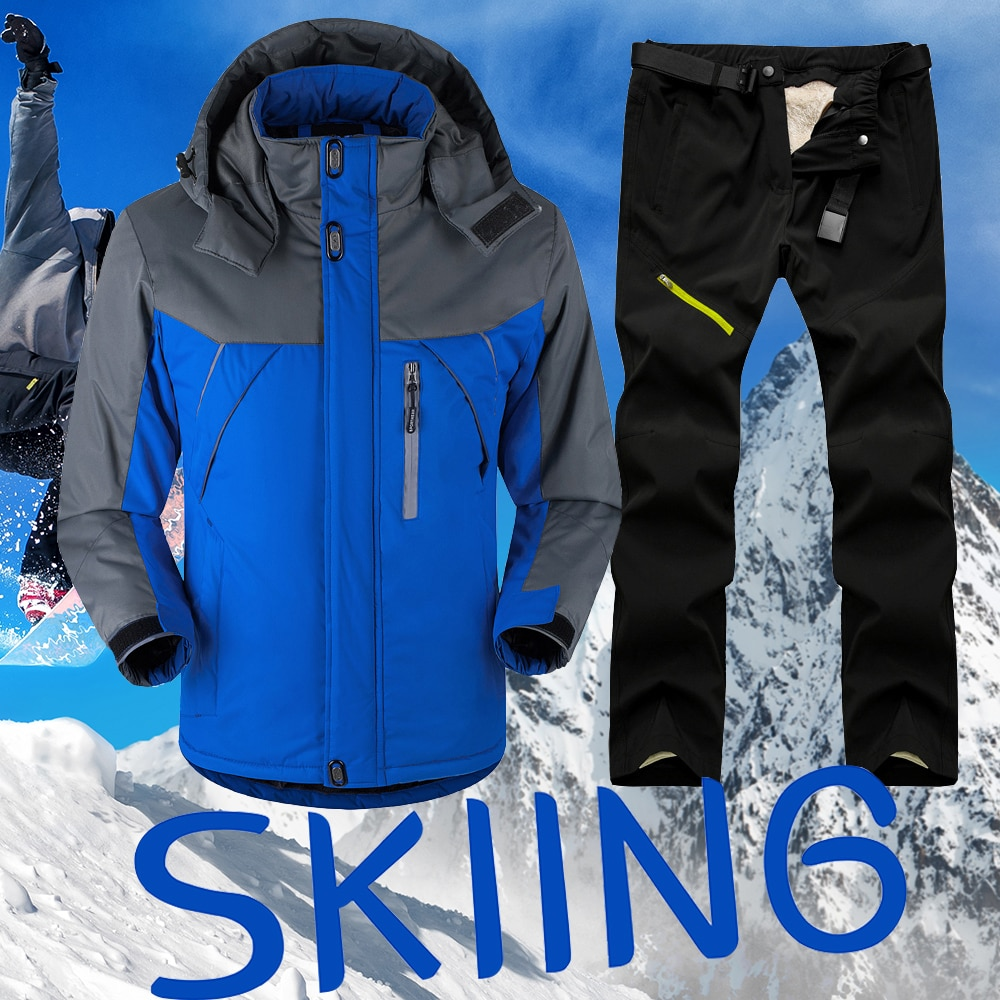 New Thick Warm Ski Suit Men Waterproof Windproof Skiing and Snowboarding Jacket Pants Set Male Winter Snow Costumes Outdoor Wear winter thick warm ski suit women waterproof skiing and snowboarding jacket windproof pants set female snow costumes outdoor wear