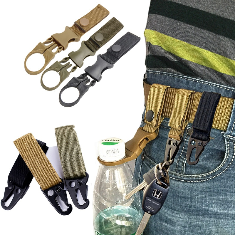 outdoor camping military tactical nylon belt metal hanging carabiner backpack hook clasp survival gear keychain outdoor tools Nylon Belt Backpack Molle Hook Military Hunting Outdoor Survival Climbing Waist Strap Buckle US Army Tactical Belts Accessories