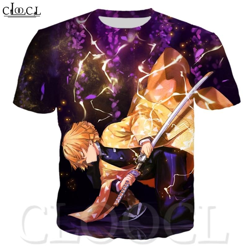 CLOOCL Japanischen Anime Kimetsu Keine Yaiba Dämon Slayer 3D Print Harajuku T-shirt Mode Lässig Rundhals Männer Tops