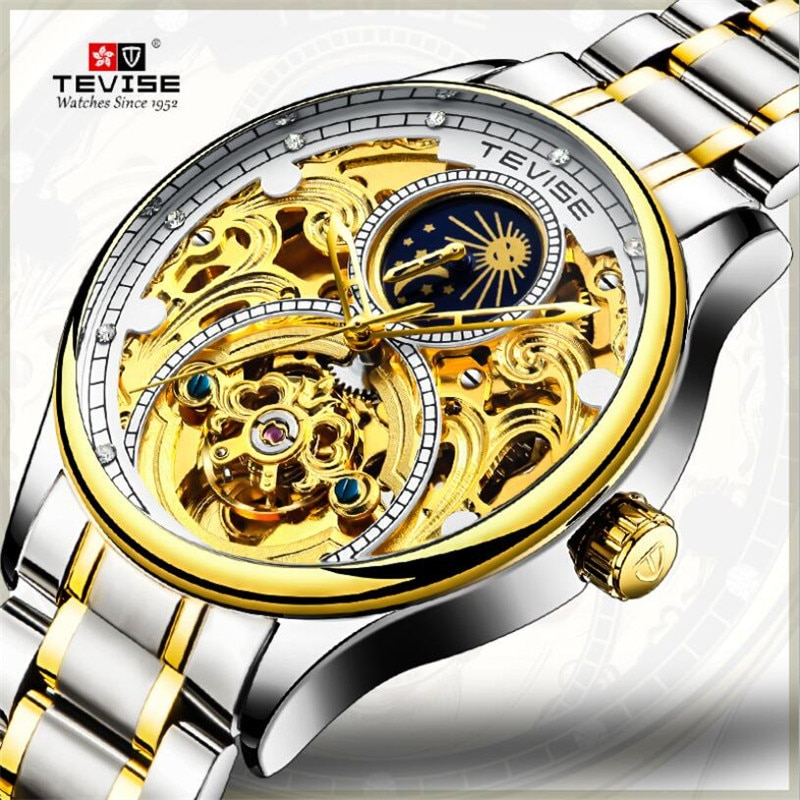 Skeleton Tourbillon Mens Watches Top Brand Luxury Automatic Mechanical Watch Men Full Steel Business