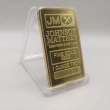 Johnson Matthey JM bar 1 UNZEN 24K gold überzogene abzeichen 50x28mm souvenir münze