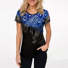 2020 New Summer Blouse Women Print Tops Shirt Round Neck Short Sleeve Boho Blouse Female Casual Loose Shirt Plus Size 5xl