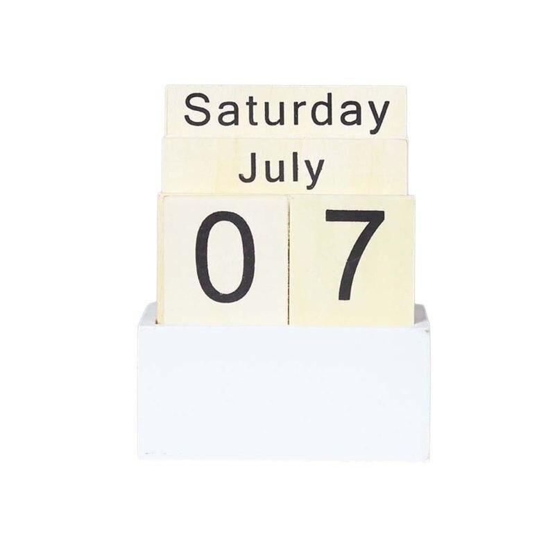 Vintage Wooden Perpetual Calendar Eternal Block Planner Photography Props Month Week Date Display Home Office Desktop Decoration