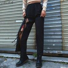Macheda-pantalon dété à jambes larges pour femmes, taille haute élastique, nouée, style chic, noir, décontracté, nouvelle mode, 2019