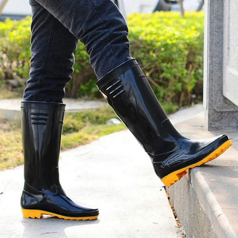 أحذية طويلة الرجال الخواضون الصيد عدم الانزلاق مقاوم للماء أحذية المطر عالية الخوض حديقة مزرعة الطين المياه البلاستيكية المطاط الركبة Wellies ...