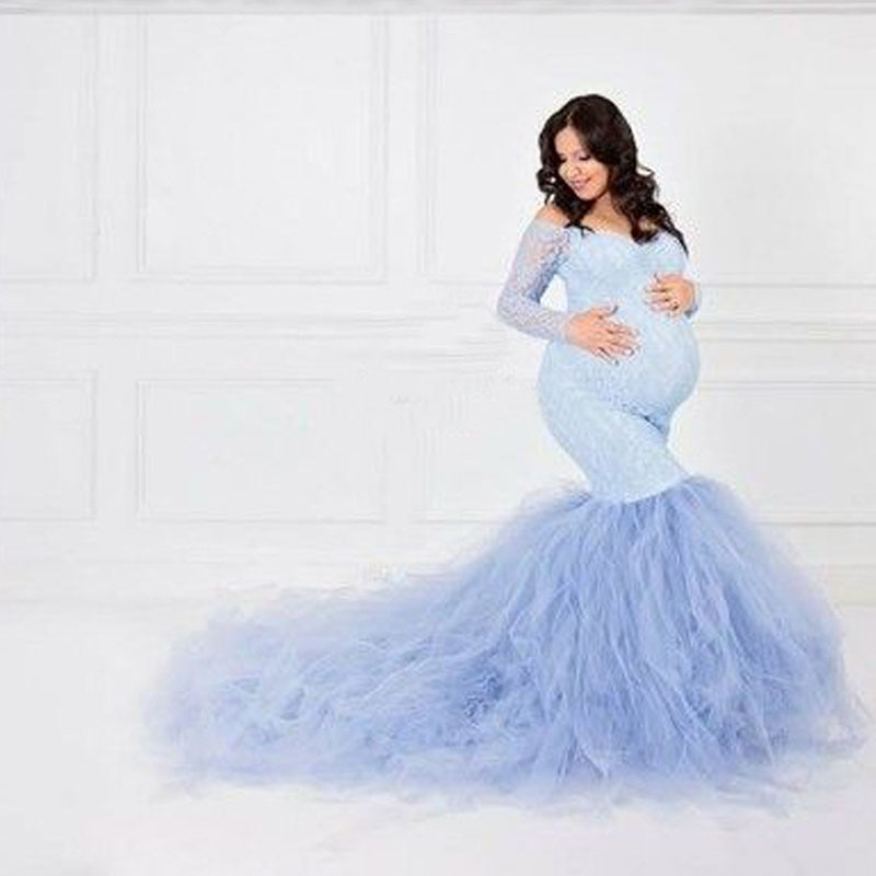 Sexy Lace Shoulderless Pregnancy Dress Photography Long Sleeve Mesh Maternity Maxi Gowns For Photo Shoot Pregnant Women Dress enlarge