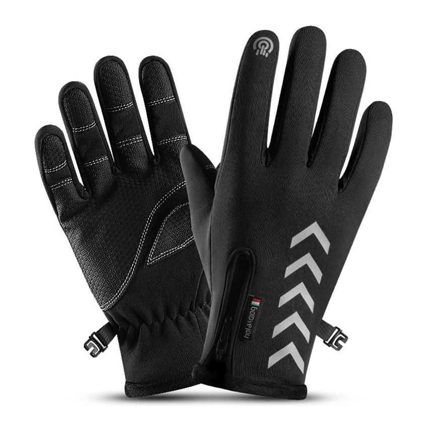 Winter Men Gloves Night Reflective Strip Touchscreen Waterproof Anti-slip For Cycling Skiing Windproof Fluff Warm