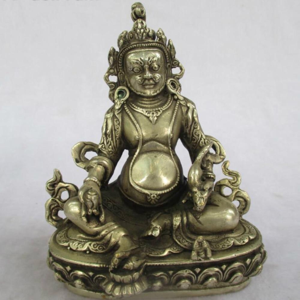 Antiguo coleccionable antiguo decorado antiguo hecho a mano Tíbet plata tallado verde estatua de tara Buda/escultura envío gratis