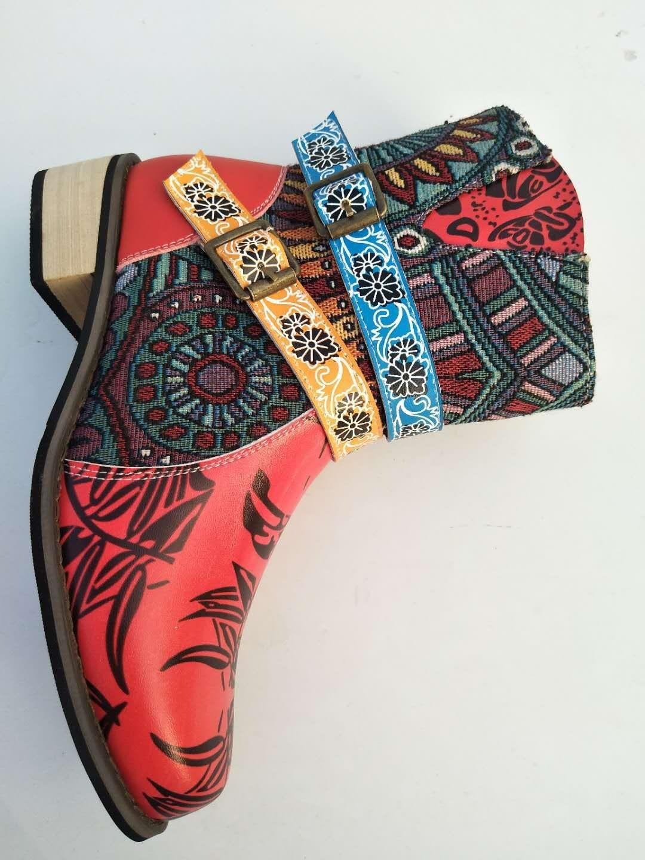 Foto Real botas Martin europeas y americanas, botas de tacón bajo de jacquard retro de costura británica para mujer, botas de talla grande 9,5 10