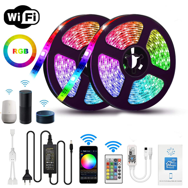 5m 10 15m wifi led luz de tira rgb à prova d12v água smd 5050 d12v rgb string diodo fita flexível wi-fi contoller + adaptador plug