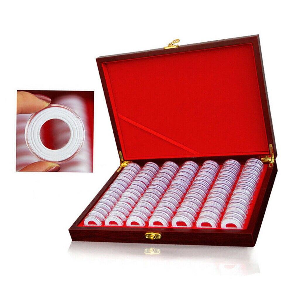 100 Uds. Cajas de exhibición de seguridad de regalo cápsulas contenedor de almacenamiento exposición multipropósito titular de la moneda con almohadilla caja de madera portátil