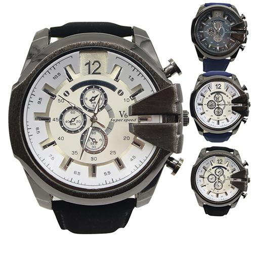 HOT SALES!!!New Arrival Men Big Dial Faux Leather Band Stainless Steel Analog Quartz Sports Wrist Watch Wholesale Dropshipping
