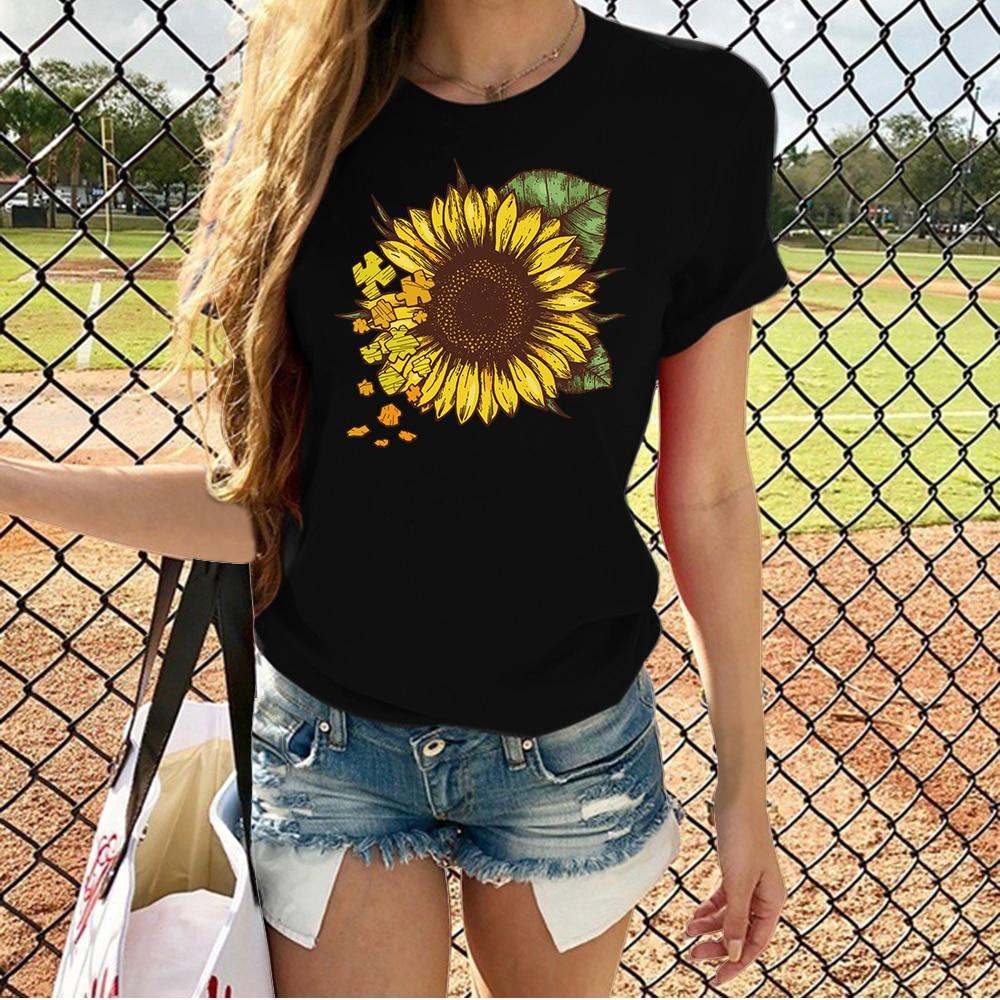 Harajuku Sunflower Print T Shirt Women Short Sleeve O Neck Loose Tshirt 2020 Summer Fashion Women Tee Shirt Tops print t shirt women tee tops fashion summer women tshirt casual short sleeve female tshirt harajuku cow dot print basic t shirt