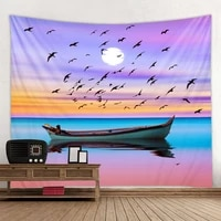 dream nature wall tapestry pink purple sky sunset landscape ocean tapiz wall hanging home boho decor room decoration wall carpet