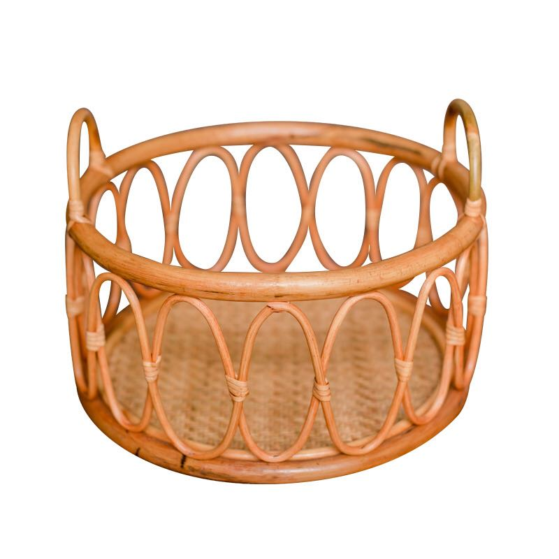 Newborn Photography Props Basket Baby Photo Posing Retro Woven Rattan Round Basket Shoot Container For 0-6 Months Infants