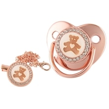 Bling Baby Pacifier Rose Gold Teether BPA Free Newborn Silicone Pacifier Baby Soother Nipple Dummy Baby Shower Gifts