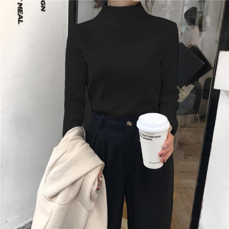 Half Turtleneck Bottoming Shirt Female Slim Fit Long-Sleeved Black T-shirt Spring Autumn and Winter