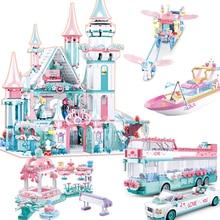 Nouvelle ville fille amis grand jardin neige monde Villa voiture modèle blocs de construction brique technique Playmobil jouets pour enfants cadeaux