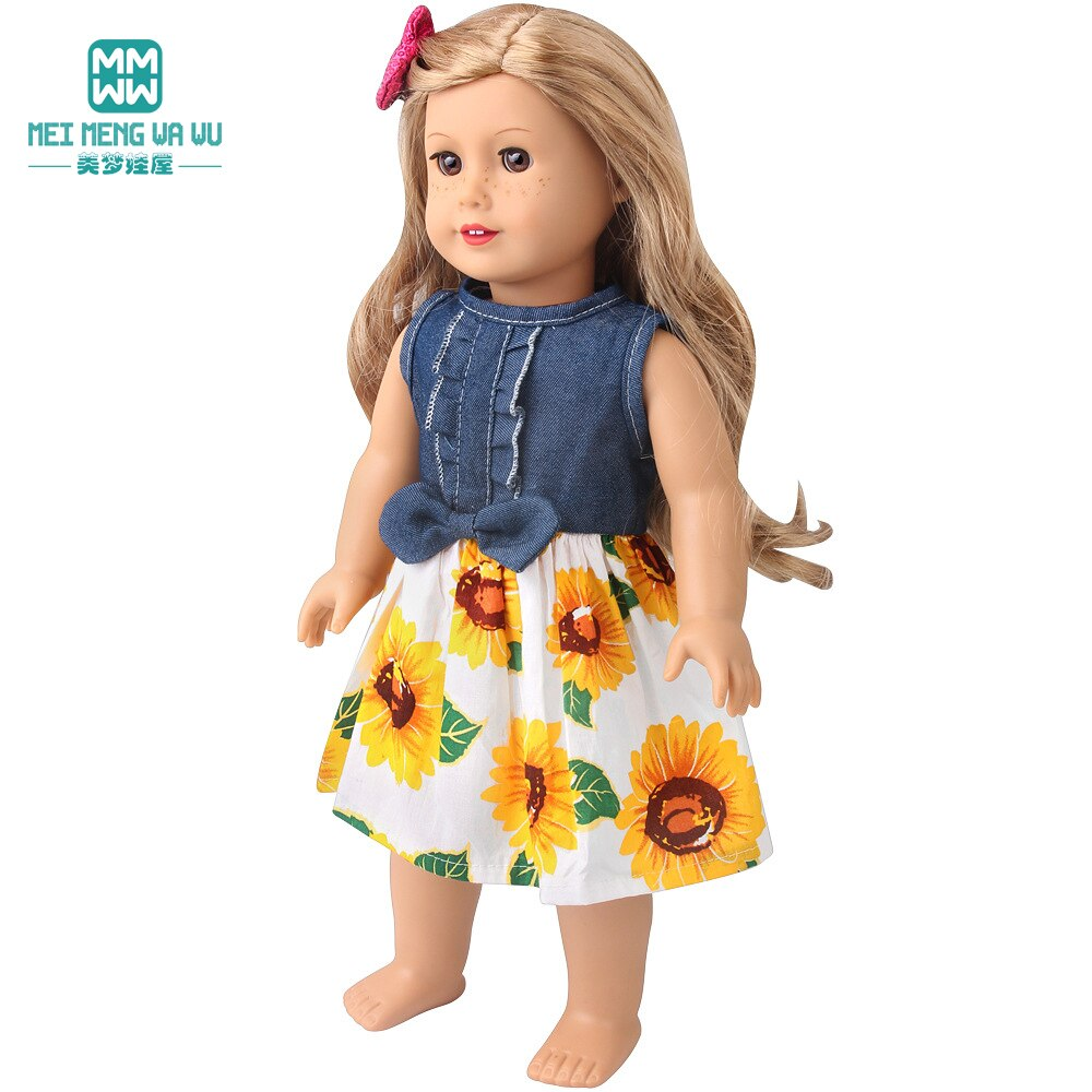 Clothes for doll fit 45 cm American doll accessories Fashion Denim bow skirt shoes Girl's gift