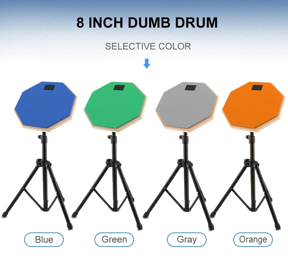 Drum Set 8 Inch Rubber Wooden Dumb Drum Practice Training Drum Pad with Stand 3 Colors Optional 10pcs bass snare drum sound off mute silencer drumming rubber practice pad set professional dropshipping