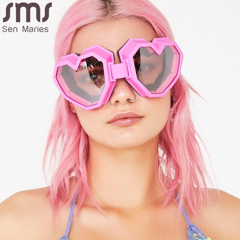 Женские цельные солнцезащитные очки в форме сердца, большие брендовые дизайнерские очки с градиентными линзами   Аксессуары для одежды   АлиЭкспресс