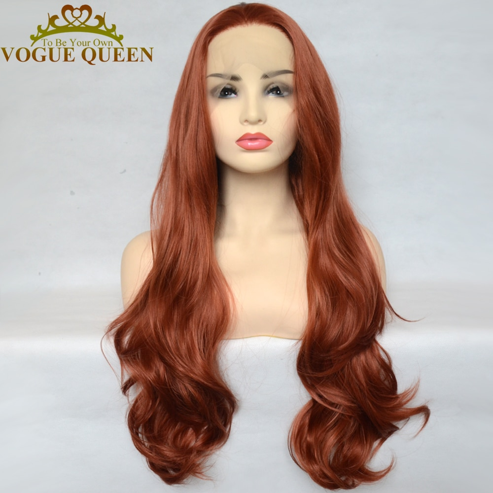 Vogue Queen Copper Red Synthetic Lace Front Wigs Long Wave Heat Resistant Fiber Natural Hairline For Women