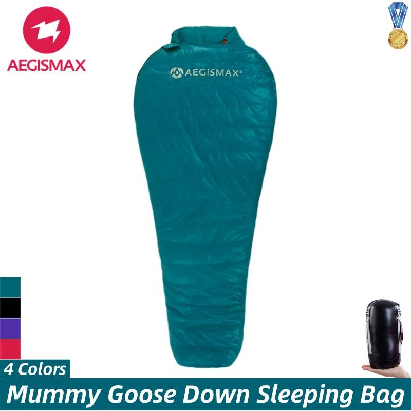 AEGISMAX NANO Schlafsack Mummy Natürliche Gans Unten Ultraleicht warme Schlafsack Wasserdicht Nylon Stoff Tragbare Reise Camping