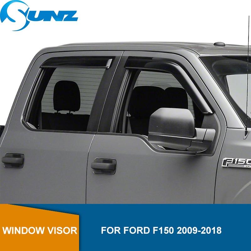 Side Window Deflectors For Ford F150 2009 2010 2011 2012 2013 2014 2015 2016 2017 2018 Black Sun Rain Deflector Guard SUNZ