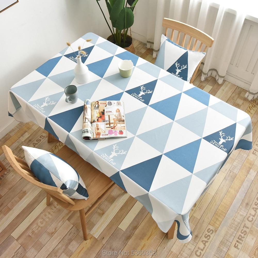 Mantel nórdico 100% poliéster impermeable, tela Rectangular azul geométrico, patrón de alces, mantel de cocina textil, mantel para decoración del hogar