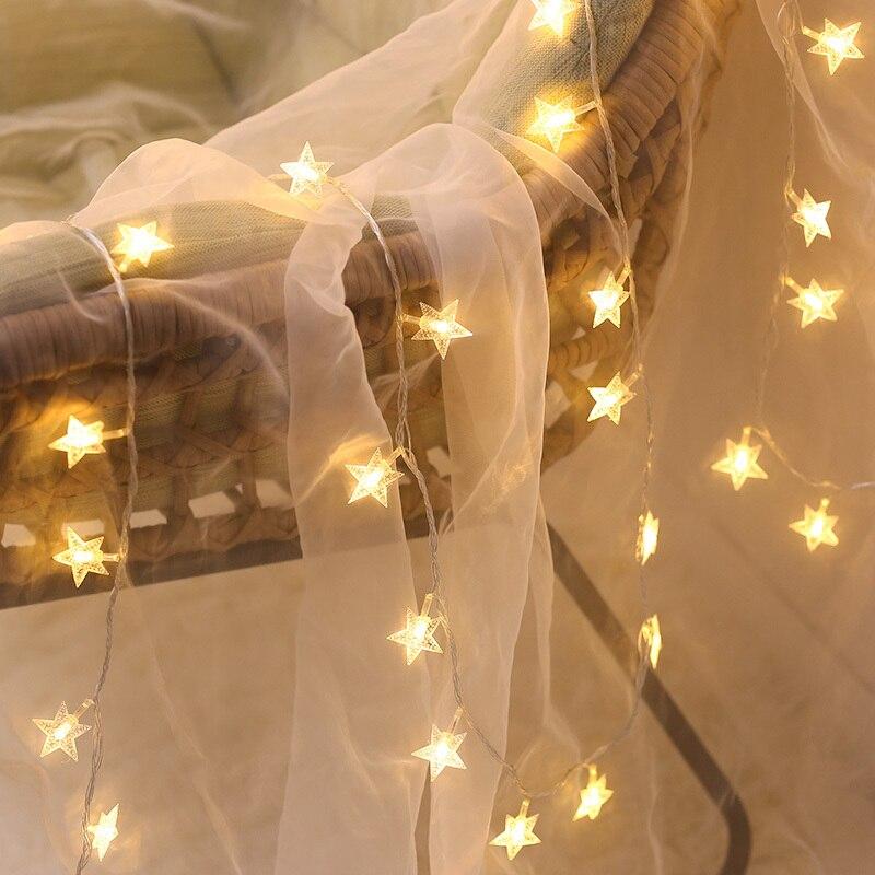Luces de cadena de estrellas luces LED centelleantes luces de Hada para exteriores interiores luces de Festival de boda para decoración de tiendas de cortina de dormitorio