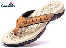 YEINSHAARS-sandales dété en cuir pour hommes, tongs, à la mode, collection pantoufles décontractées