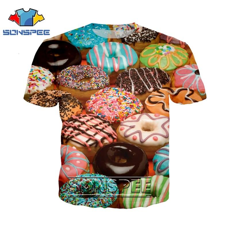3d принт Косплей пончик игра футболка аниме уличная Мужская Женская модная футболка Dessert Harajuku еда смешные футболки homme футболка