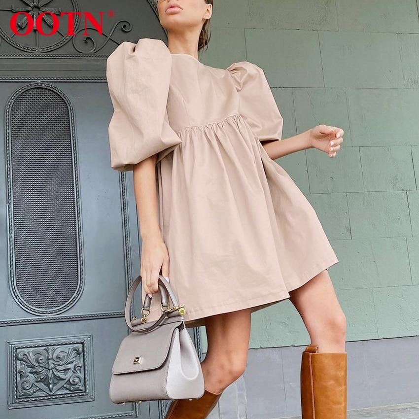 OOTN Green O Neck Casual Women Dress Lantern Short Sleeve Solid Pink Mini Dress Ladies Elegant A Line Summer Dresses Cotton 2021