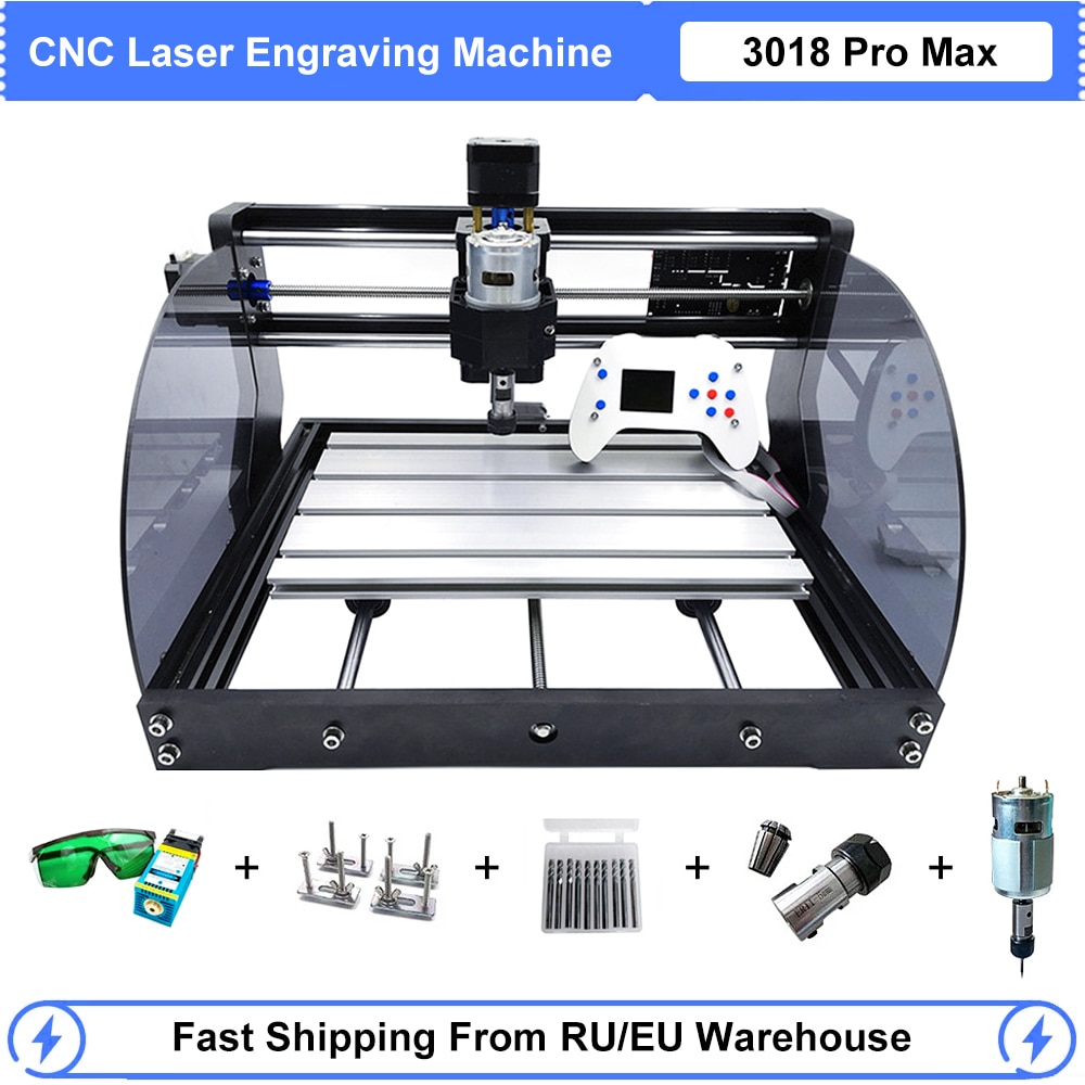 CNC Laser Engraver Wood CNC Router GRBL DIY 3 Axis Milling 3018 Pro Max Laser Engraving Machine With Offline Controller 0.5W-15W grbl cnc offline 3 axis controller board for 3018 pro 1610 2418 3018 engraving 28tc