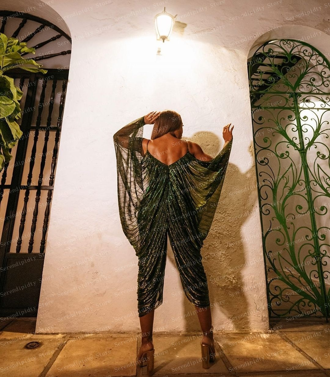 Forbidden Garden Draped Jumpsuit Shiny Green Spaghetti Strap Jumpsuits Elegant Party Clothes New Design Plus Size Open Back enlarge