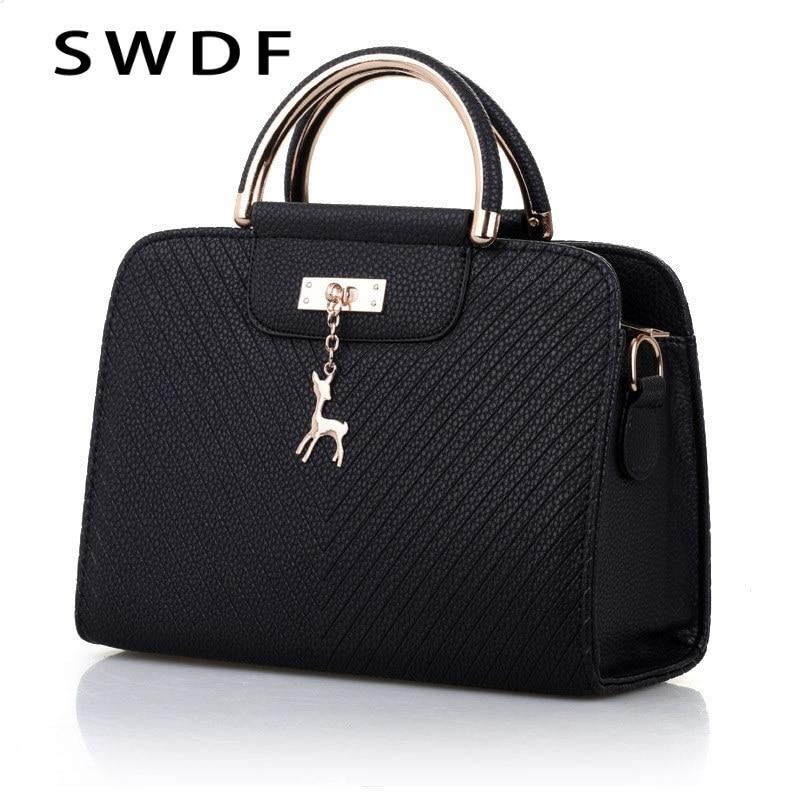 SWDF  Handbags 2021 New Women Leather Bag Large Capacity Shoulder Bags Casual Tote Simple Top-handle Hand Bags Women Bags Ladies