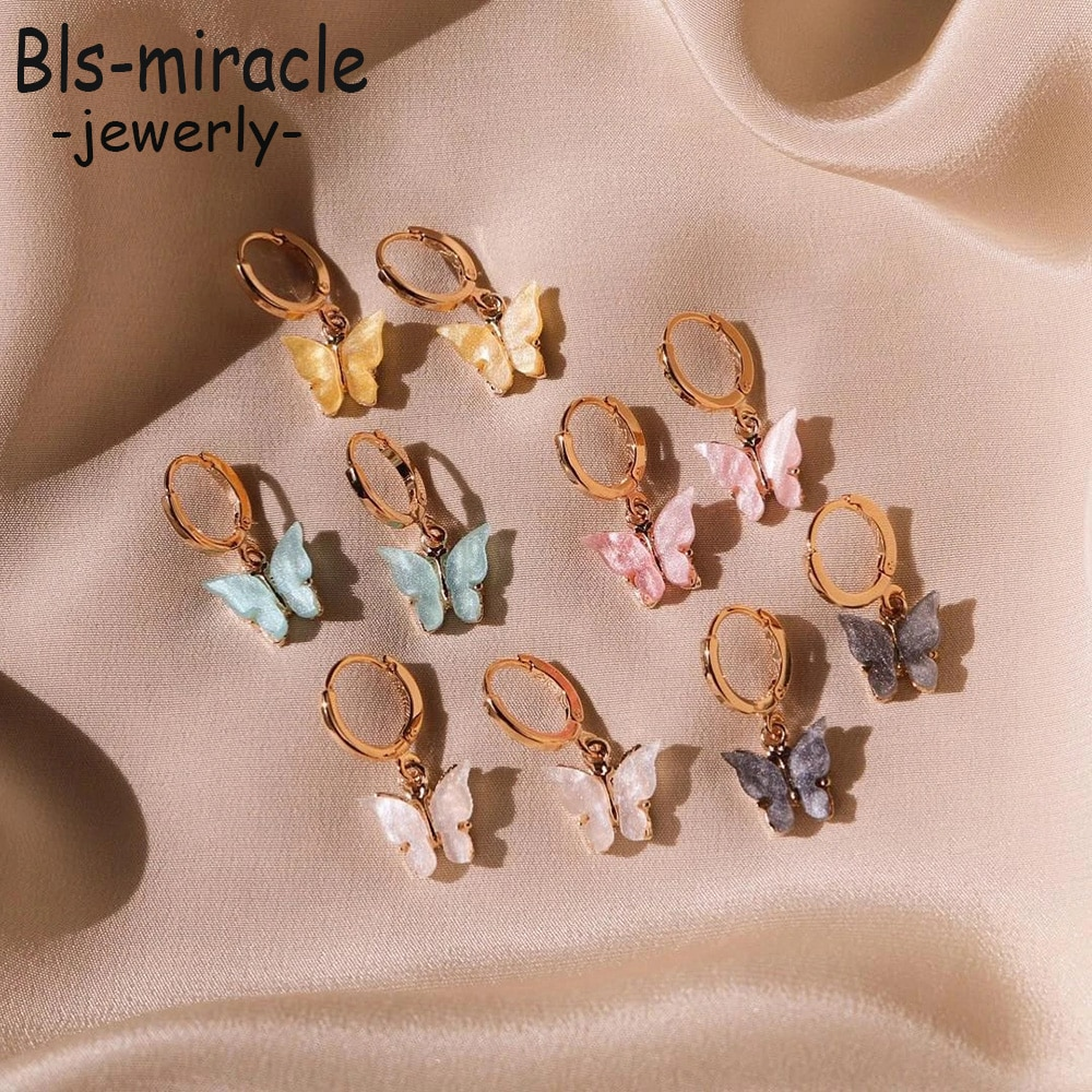 New Vintage Earring Jewelry Fashion Multi-color Butterfly Shape Pendant For Women 2020 Simple Alloy Earrings Party Gift